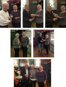 Top left to right: Jerry Guest, Brian Walton and Paul Taylor, middle row, Janet Jackson and Robin Tasker and, above, Chris and Sally Slater receiving their trophies from Club chair, Sarah Andrew